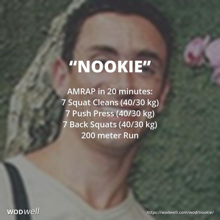 AMRAP in 20 minutes: 7 Squat Cleans (40/30 kg); 7 Push Press (40/30 kg); 7 Back Squats (40/30 kg); 200 meter Run