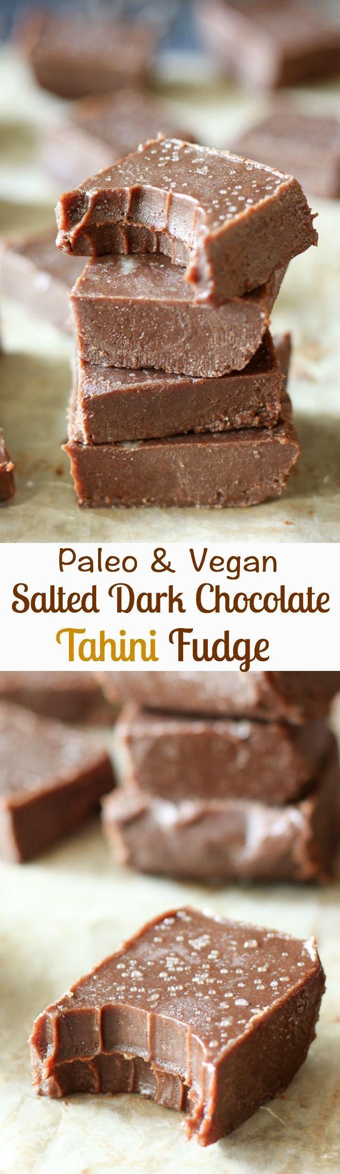 Paleo & Vegan salted dark chocolate tahini freezer fudge - rich chocolate flavor, creamy, so easy to make!