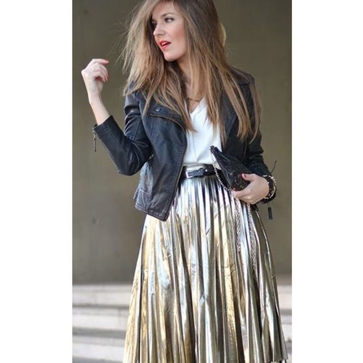 Love this outfit. Sparkly, edgy, but in neutral colors.