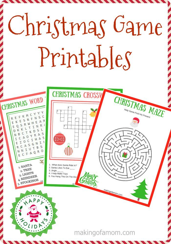 Christmas Game Printables including a maze, crossword puzzle and word search featuring all your favorite Christmas things.