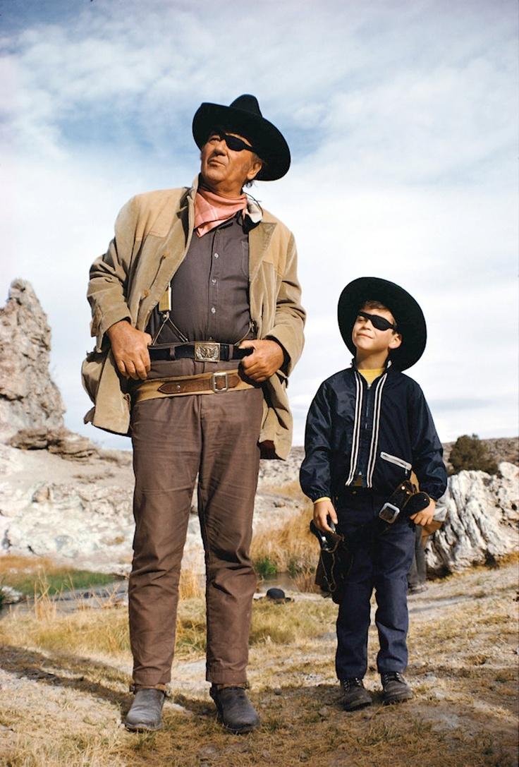 John Wayne on the set of True Grit w/ his son Ethan