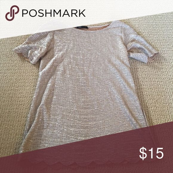 Metallic scallop tshirt Metallic gold shirt with scalloped edge. Great condition. Perfect for a party! qed london Tops Tees - Short Sleeve