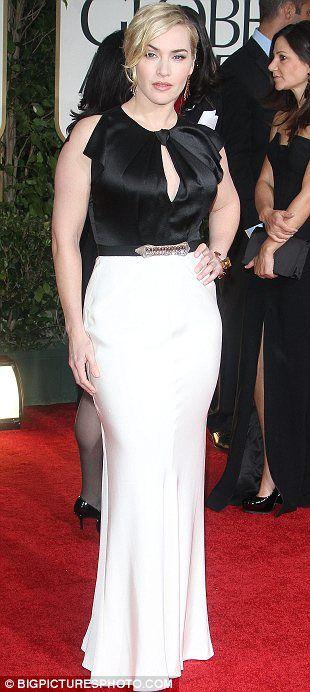 MISS - Kate Winslet: İngiliz tasarımcı Jenny Packham ile Yurtsever seçimdir.  Sevgilisi yaka ve yukarı yapın seviyorum, ama beyaz etek onun geniş görünmesini sağlar