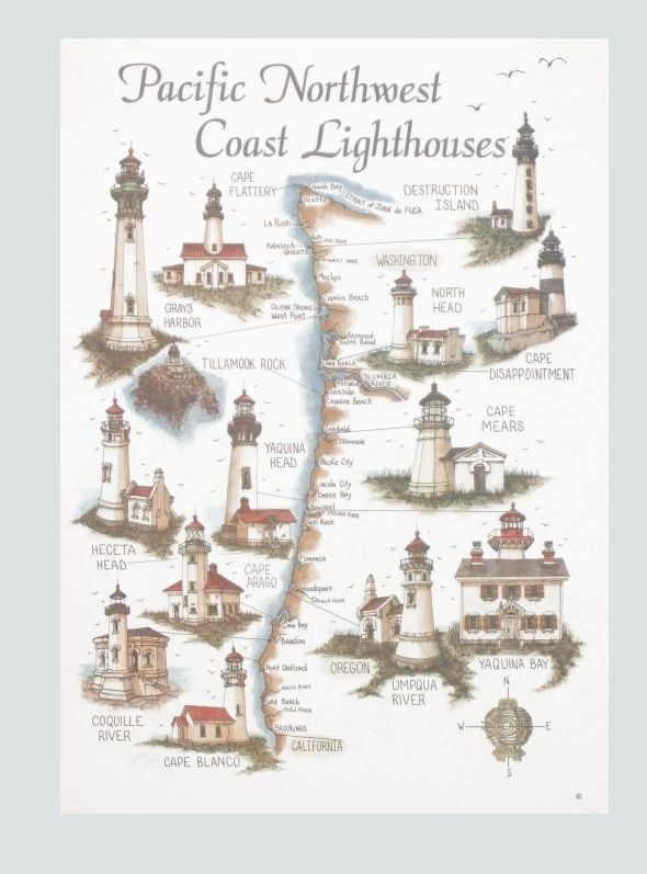 Map of Pacific Northwest Coast Lighthouses