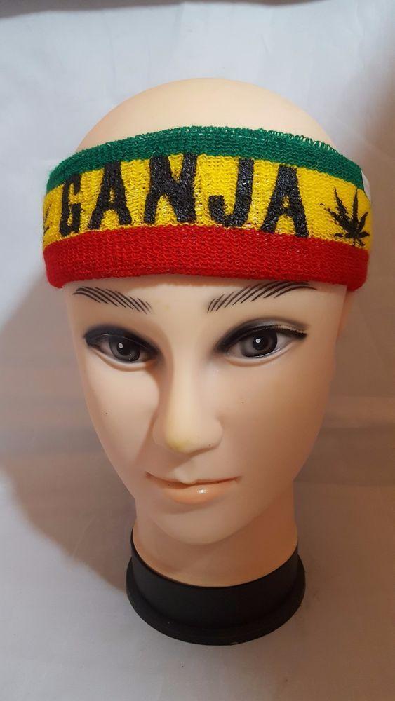#02 Irie Stripe Stoner Rasta Jamaican Weed GANJA Leaf Sweat band Hair Band…