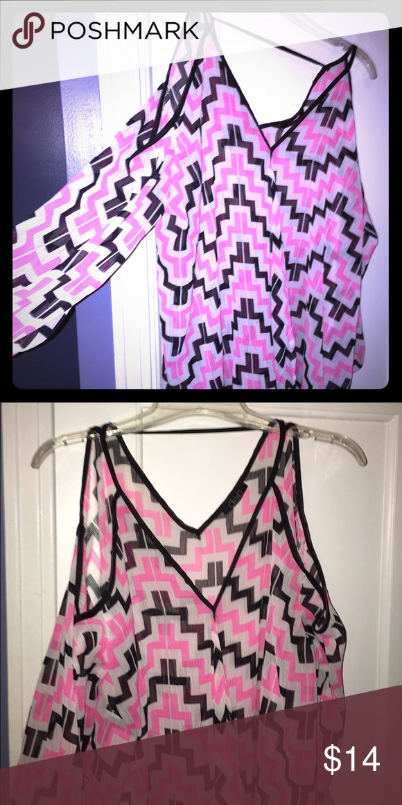Deb shop 3x chevron top Such a cute top! Pink and black chevron print with Sexy peekaboo sleeves that are 3/4 length. Chiffon type material. Tops Blouses