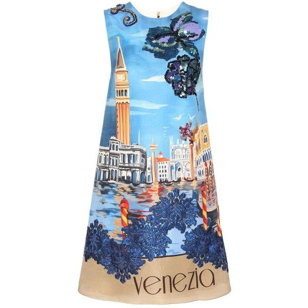 Dolce & Gabbana Embellished Silk Shift Dress (€2.995) ❤ liked on Polyvore featuring dresses, blue, colorful dresses, embellished shift dress, silk shift dress, blue embellished dress and multi-color dress