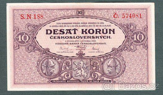 Staré bankovky - První republika 10 korun 1927 pěkná - 1