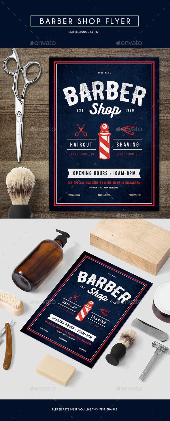 Barber Shop Flyer Template PSD. Download here: http://graphicriver.net/item/barber-shop-flyer/15227032?ref=ksioks