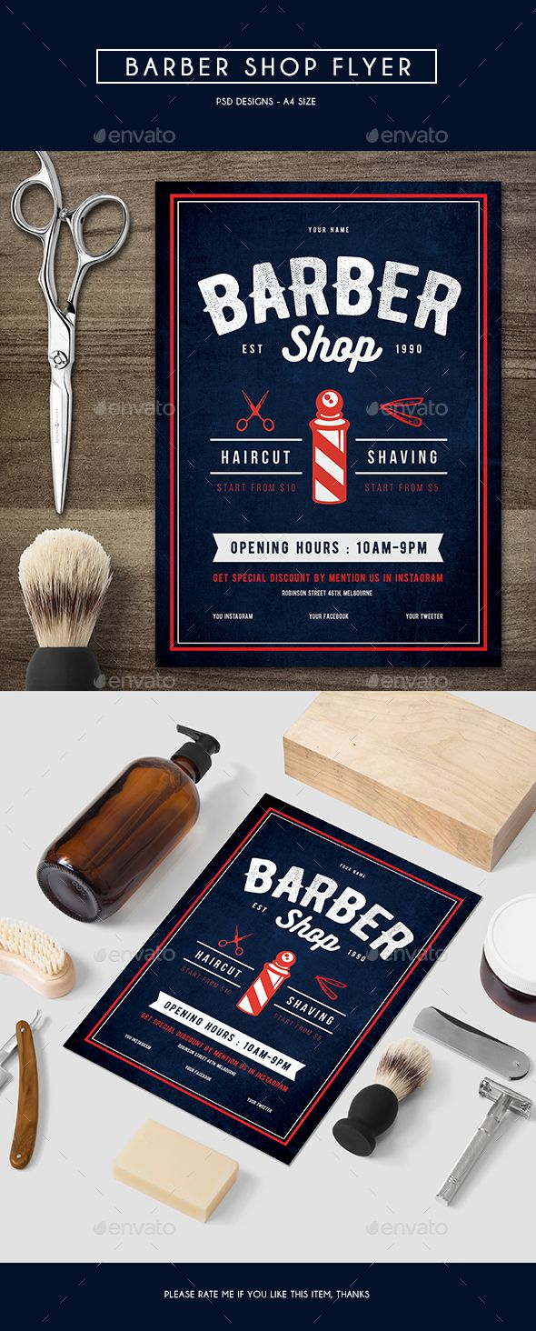 Barber Shop Flyer — Photoshop PSD #hair #model • Available here → https://graphicriver.net/item/barber-shop-flyer/15227032?ref=pxcr