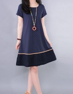 Hey, I found this really awesome Etsy listing at https://www.etsy.com/listing/205852714/cotton-dress-orange-dress-navy-blue