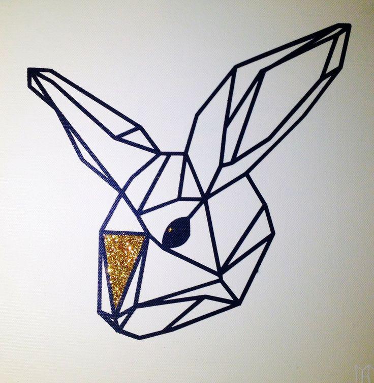 -PANDORÉ- Tableau Lapin géométrique touche dorée : Décorations murales par studio-dada