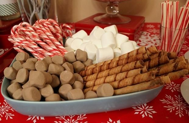 Christmas Hot Chocolate & Coffee Bar. Would be perfect for a cookie exchange!