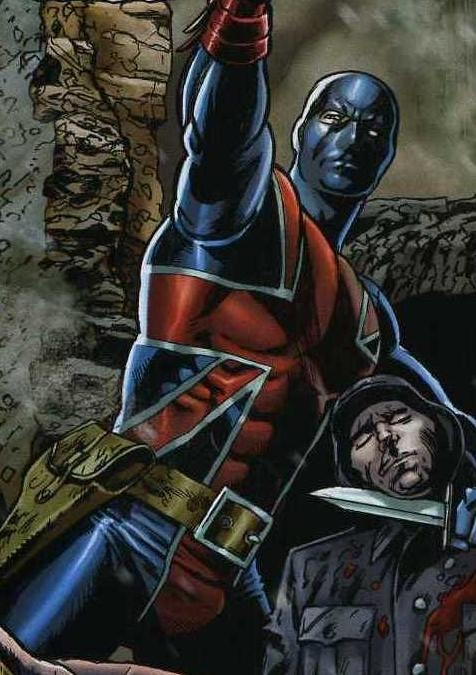 The supreme one (Steve Sadowski)does a beefy--and bulging-- Union Jack II (another fave secondary from Marvel Comics.) Marvel did right by their WWII based characters for a while there: Citizen V, Citizen V and the V-Batallion, The New Invaders, Union Jack and more....but now they've fallen by the wayside again.