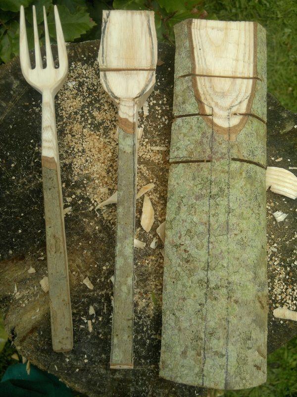 Schnell wachsende junge Triebe aus Asche, sie sind ein flexibles, starkes Holz, meine Wahl für diese Barkiegabeln.
