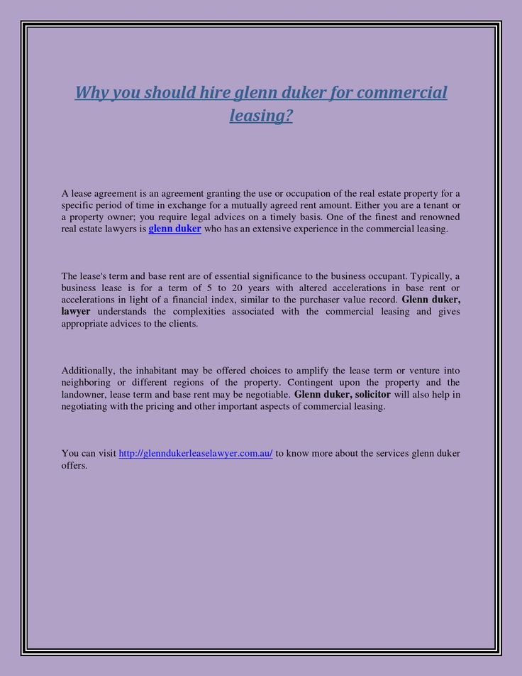 Why You Should Hire Glenn Duker For Commercial Leasing  Commercial