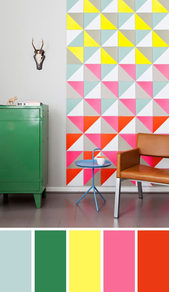 Color palette Yellow & Pink with some fluor details by Kleurinspiratie.nl