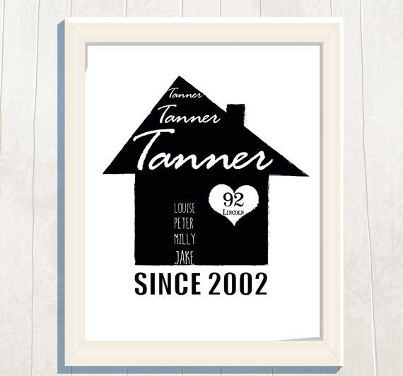 Personalized New Home House Family PrintDigital by VeryFairyGood