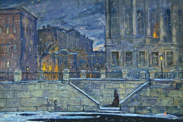 Petersburg. The Neva Embankment by Ilya Glazunov, Set design for Tchaikovsky's opera The Queen of Spades, 1980.