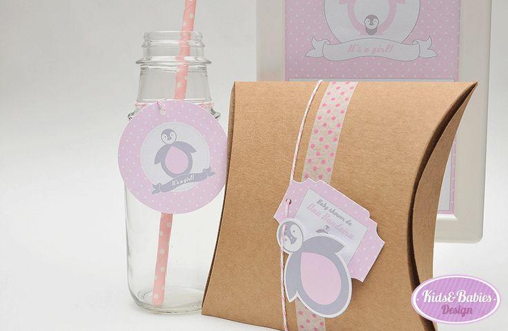 "Kids&Babies: Party Printables :: Baby Shower Pinguim - círculos de festa e ""topper"" formato pinguim multiusos"