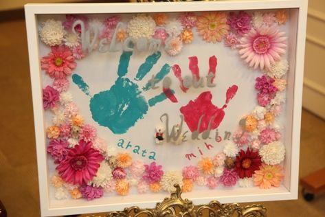 """手形を使ったウェルカムボード : 【かわいい】結婚式の""""ウェルカムボード""""手づくりアイディア集 - NAVER まとめ"""