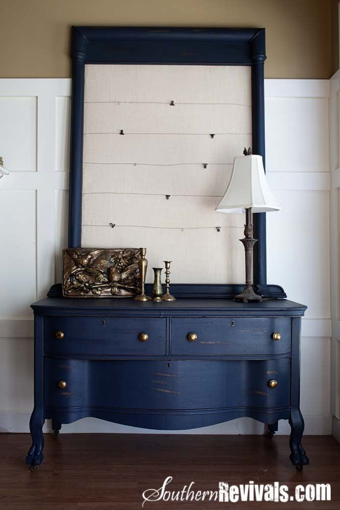 Southern Revivals: Uncle Joe's 1800's Dresser-  Turn the old mirror (without the glass) for my vanity into picture holder.