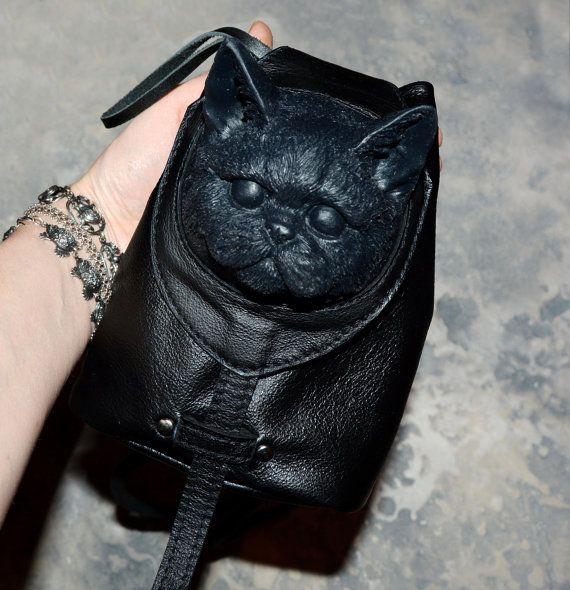 Lederen rugzak - lederen portemonnee - kleine rugzak - kleine tas - Mini rugzak - Mini portemonnee - kat zak - Cat rugzak - kat kunst - kat portemonnee