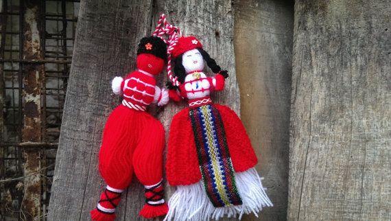 Vintage Traditional Yarn Dolls Bulgarian by VintageStupidDog