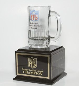 Fantasy Football  Traveling Trophy. Individual Mug  Mounted On A Black Matte Wood Base $58.00