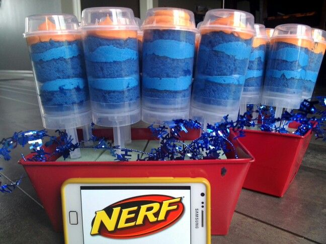 Nerf Bullet Push Pops perfect alternative to a cake! Layers of cake and frosting!
