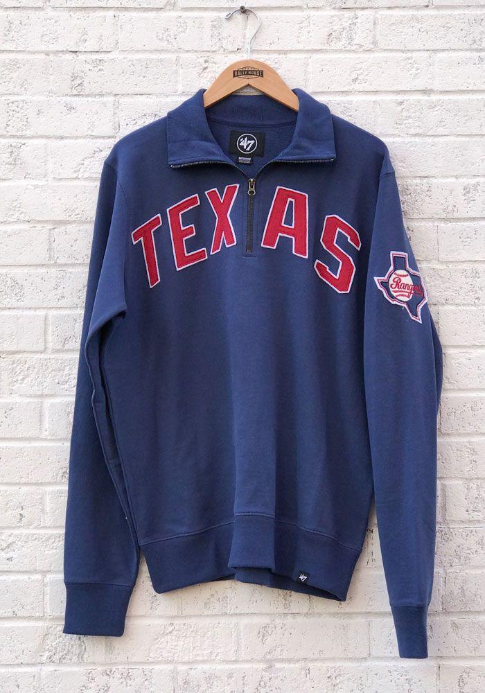 47 Texas Rangers Mens Blue Striker Long Sleeve 1 4 Zip Fashion Pullover 48000274 Texas Rangers Sweaters Athletic Jacket