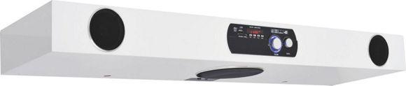"""Das Wandboard """"Disco"""" macht den Namen zum Programm. Aus einer hochwertigen Flachpressplatte gefertigt, bietet das Möbel in hochglänzendemWeiß ein chices Design.Bei einer Breite von ca. 90 cm bietet es Platz für Ihre CDs und DVDs.Das Highlight: Im Wandboard ist ein Soundsystem integriert. Einfach raffiniert!"""