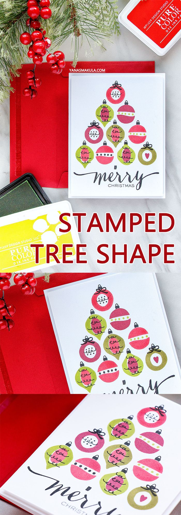 WPlus9   Stamped Tree Shape Card with Holiday Trimmings Stamp. Handmade card by Yana Smakula #cardmaking #stamping #wplus9