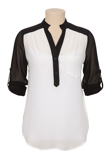 3/4 Sleeve Chiffon Contrast Blouse with Pocket (original price, $29) available at #Maurices