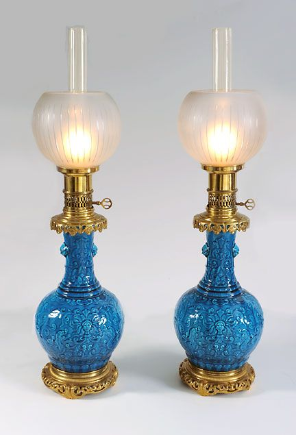 Theodore Deck and Ferdinand Barbedienne turquoise dragon lamps c. 1865-1870.