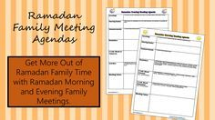 TJ Ramadan: Ramadan Family Meeting Agendas