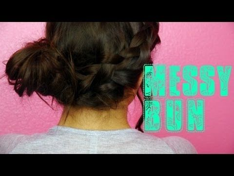 Braided Messy Bun Tutorial! Laidback  Girly (like this girls tutorials, she has long hair like i do and they work, i tried;)  )