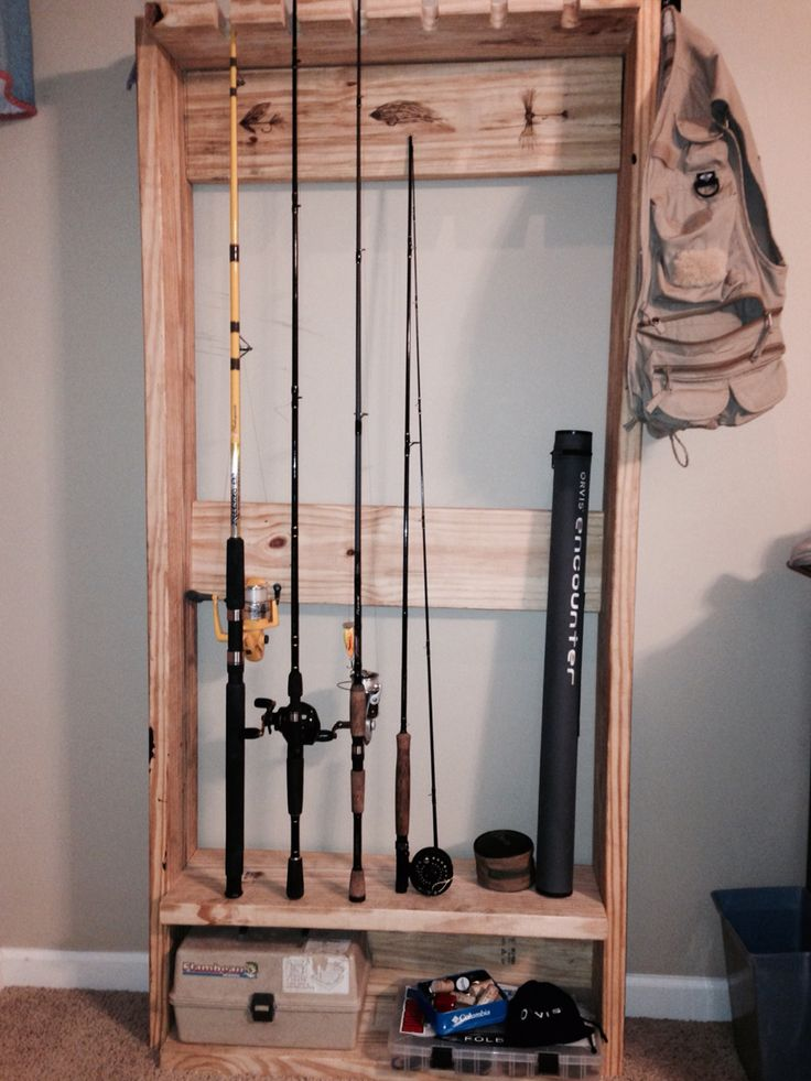 Fishing rod rack: Fly art done with wood burning pen