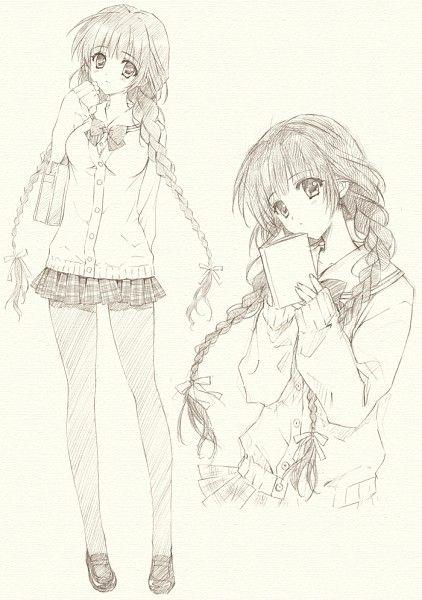 ✮ ANIME ART ✮ anime girl. . .school uniform. . .cardigan. . .pleated skirt. . .bow tie. . .braids. . .drawing. . .pencil. . .graphite. . .cute. . .kawaii