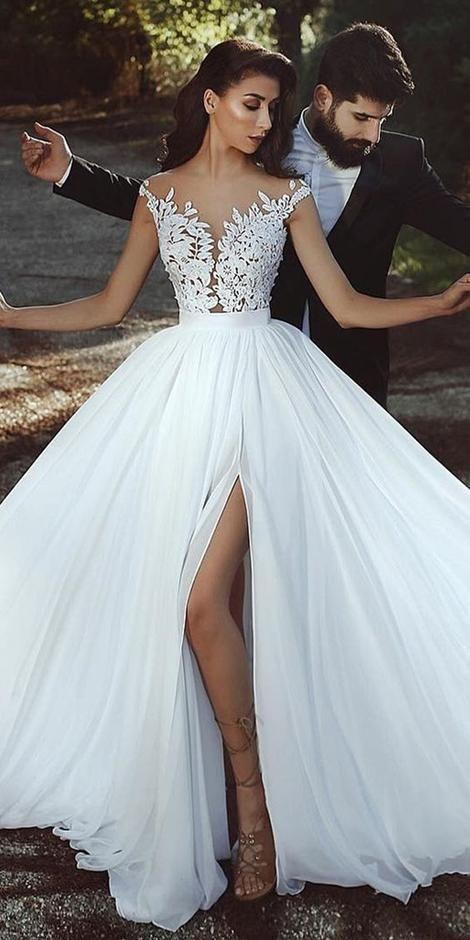 Modest A-line Lace/Chiffon Beach Wedding Dress Simple Beach Bridal Dress BDS0595