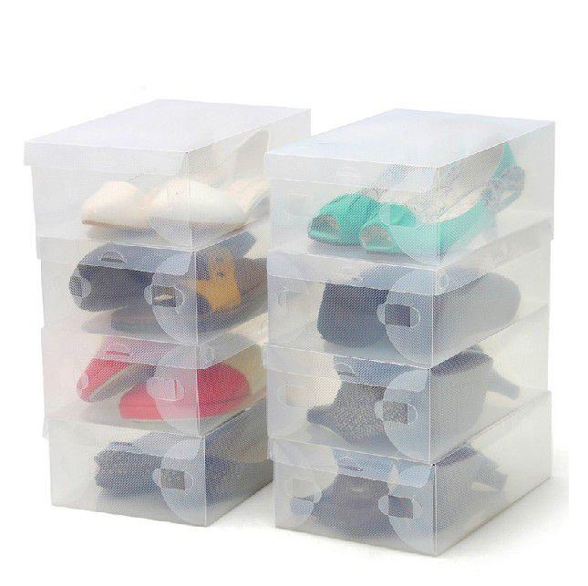 10pcs/lot Clear Foldable Plastic Shoe Boxes Stackable Foldable Box Bulk Organizer #Affiliate
