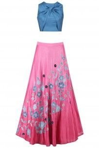 Stone Blue Twisted Crop Top with Onion Pink Floral Work Skirt #kanishkajaipur #shopnow #ppus #happyshopping