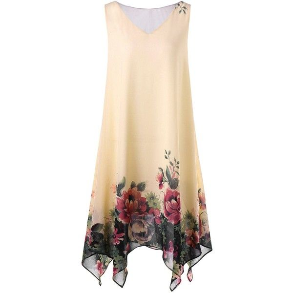 Plus Size Floral Sleeveless Handkerchief Dress ($17) ❤ liked on Polyvore featuring dresses, flower print dress, handkerchief hem dress, handkerchief dresses, beige dress and flower printed dress