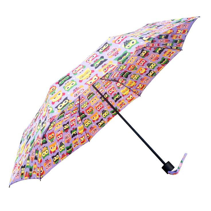 The Shelta Compact Manual Mini Maxi Cartoon Owl Purple rain umbrella with cutely printed cartoon owls. Sleek black frame and handle.