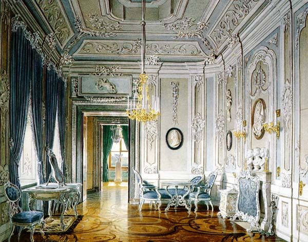 Gatchina Palace. Dressing-Room for Count Orlov, 1770s, seen in a 19th-century watercolor: much of the interior was burned by Nazis. Painting by Eduard Hau