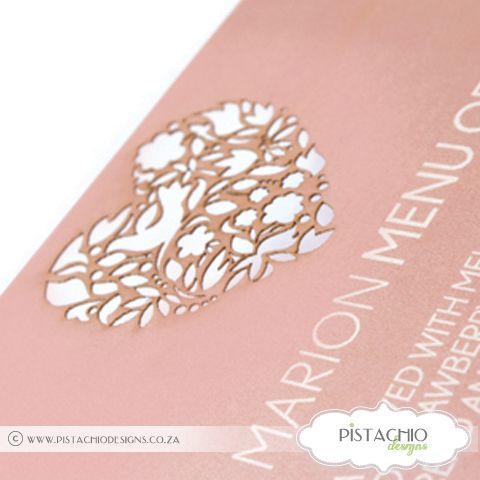 Heart Laser Cut Menu by www.pistachiodesigns.co.za