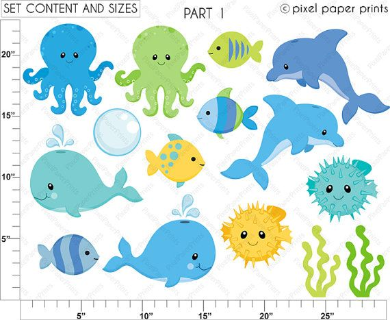 Animales marinos para niños Set de Clip Art y por pixelpaperprints