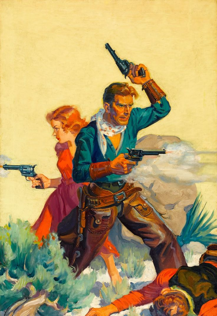 Pulp art by Walter Baumhofer, western cowboy cowgirl gun pistol revolver shoot gunfight danger