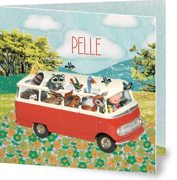 Wat een avontuurlijk geboortekaartje is dit!  Alle dierentuin het bos  liften gezellig mee met het rode volkswagenbusje. www.petitkonijn.nl