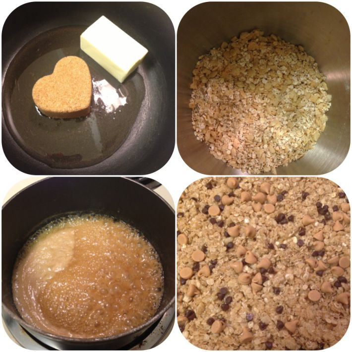 Homemade granola bars  You will need:  1/4 cup unsalted butter  1/4 cup honey  3/4 cup packed light brown sugar  2 cups quick cooking oats  1 cup rice krispies cereal  Chocolate chips, peanut butter chips, raisins, whatever else you want for sprinkling on top